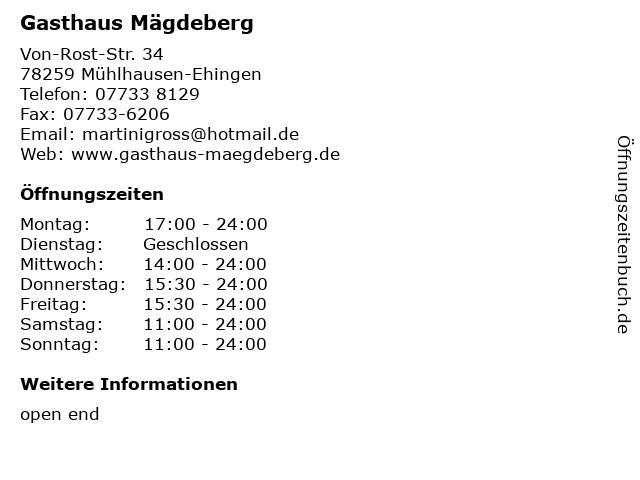Gasthaus Mägdeberg in Mühlhausen-Ehingen: Adresse und Öffnungszeiten