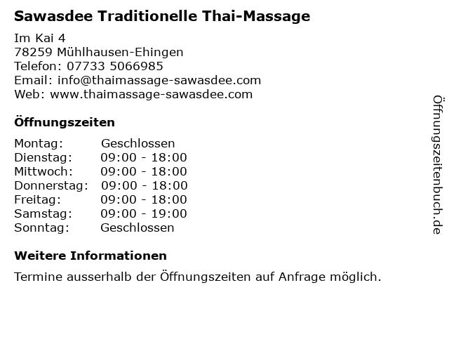 Sawasdee Traditionelle Thai-Massage in Mühlhausen-Ehingen: Adresse und Öffnungszeiten