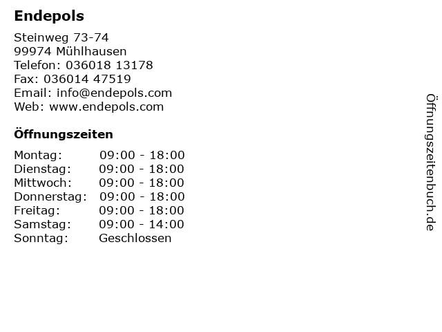 Endepols in Mühlhausen: Adresse und Öffnungszeiten