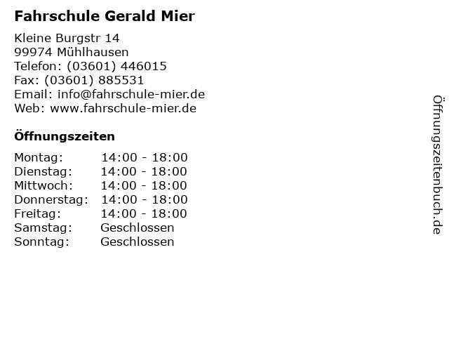Fahrschule Gerald Mier in Mühlhausen: Adresse und Öffnungszeiten
