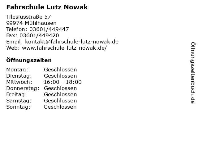 Fahrschule Lutz Nowak in Mühlhausen: Adresse und Öffnungszeiten