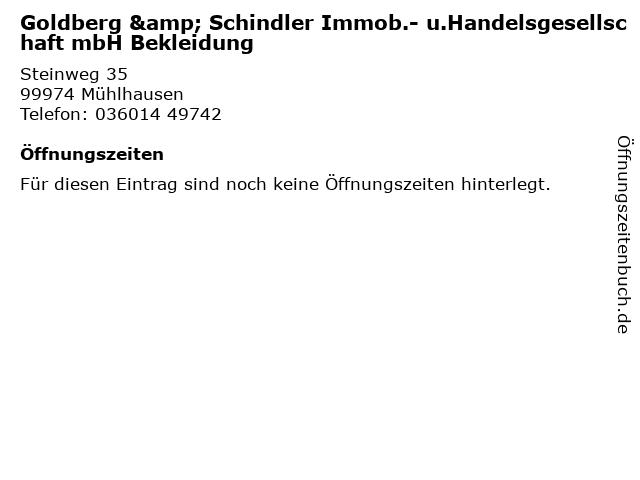 Goldberg & Schindler Immob.- u.Handelsgesellschaft mbH Bekleidung in Mühlhausen: Adresse und Öffnungszeiten