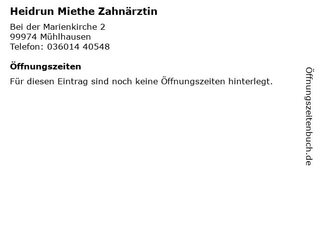 Heidrun Miethe Zahnärztin in Mühlhausen: Adresse und Öffnungszeiten