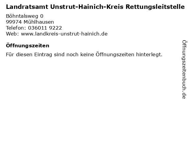 Landratsamt Unstrut-Hainich-Kreis Rettungsleitstelle in Mühlhausen: Adresse und Öffnungszeiten