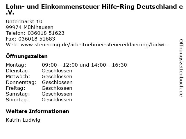 Lohn- und Einkommensteuer Hilfe-Ring Deutschland e.V. in Mühlhausen: Adresse und Öffnungszeiten