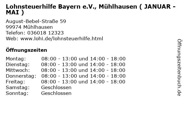 Lohnsteuerhilfe Bayern e.V., Mühlhausen ( JANUAR - MAI ) in Mühlhausen: Adresse und Öffnungszeiten