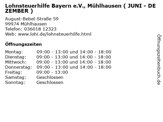 Lohnsteuerhilfe Bayern e.V., Mühlhausen ( JUNI - DEZEMBER ) in Mühlhausen: Adresse und Öffnungszeiten