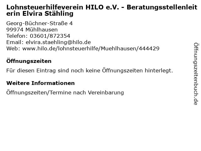 Lohnsteuerhilfeverein HILO e.V. - Beratungsstellenleiterin Elvira Stähling in Mühlhausen: Adresse und Öffnungszeiten