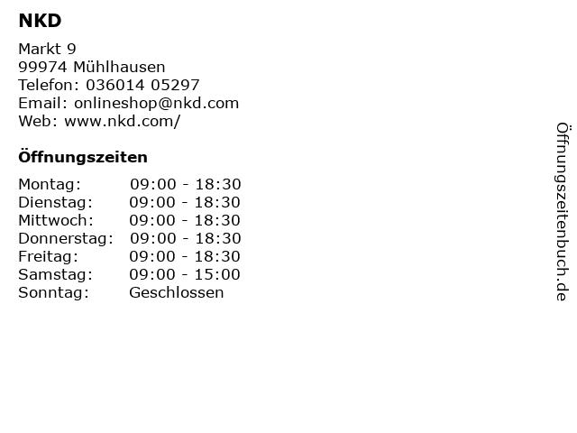 NKD in Mühlhausen: Adresse und Öffnungszeiten