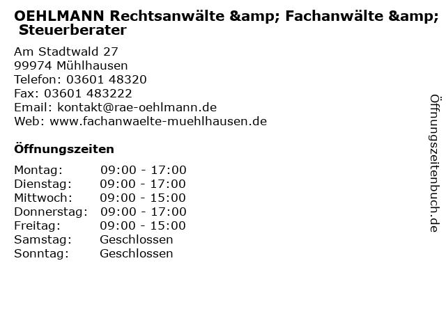 Oehlmann Rechtsanwälte, Fachanwälte Steuerberatung in Mühlhausen: Adresse und Öffnungszeiten