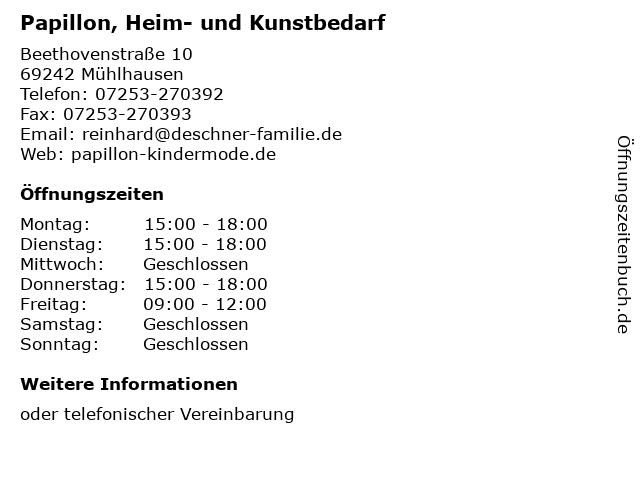 Papillon, Heim- und Kunstbedarf in Mühlhausen: Adresse und Öffnungszeiten