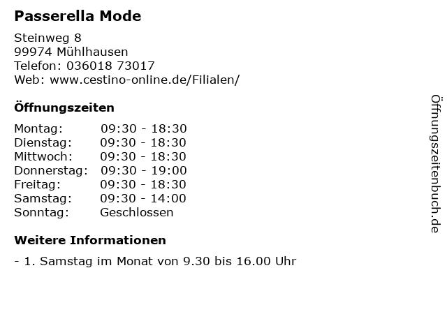 Passerella Mode in Mühlhausen: Adresse und Öffnungszeiten