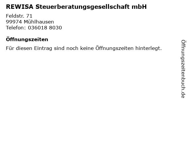 REWISA Steuerberatungsgesellschaft mbH in Mühlhausen: Adresse und Öffnungszeiten