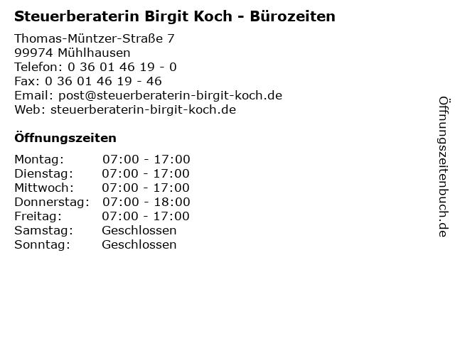 Steuerberaterin Birgit Koch - Bürozeiten in Mühlhausen: Adresse und Öffnungszeiten