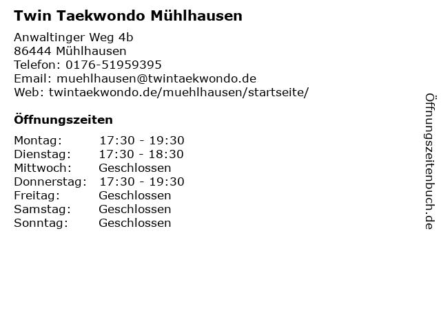 Twin Taekwondo Mühlhausen in Mühlhausen: Adresse und Öffnungszeiten