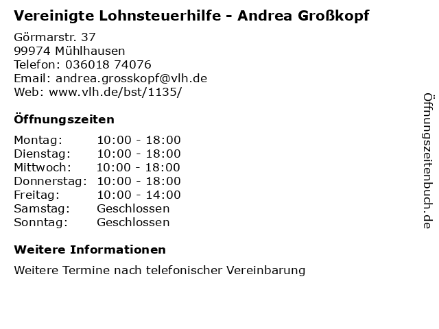 Vereinigte Lohnsteuerhilfe - Andrea Großkopf in Mühlhausen: Adresse und Öffnungszeiten