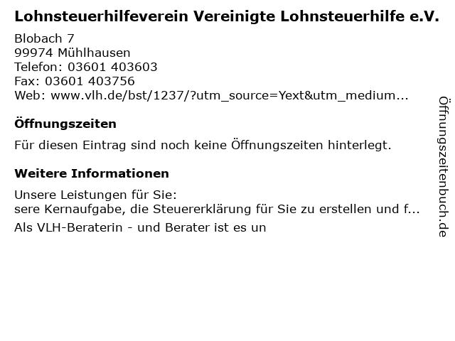 Vereinigte Lohnsteuerhilfe e.V. - Matthias Burkhardt in Mühlhausen: Adresse und Öffnungszeiten