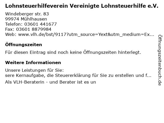 Vereinigte Lohnsteuerhilfe e.V. - Sylvia Stresow in Mühlhausen: Adresse und Öffnungszeiten