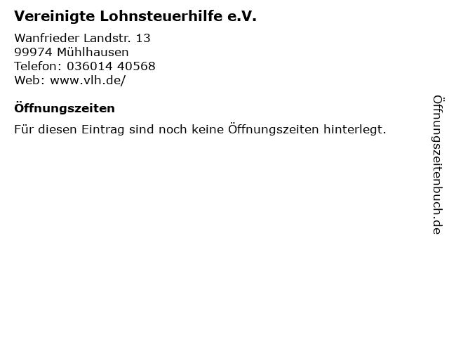 Vereinigte Lohnsteuerhilfe e.V. in Mühlhausen: Adresse und Öffnungszeiten