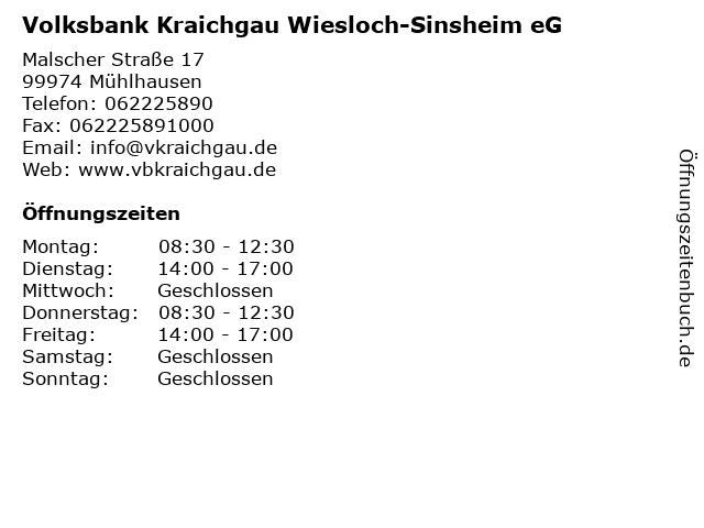 Volksbank Kraichgau Wiesloch-Sinsheim eG in Mühlhausen: Adresse und Öffnungszeiten