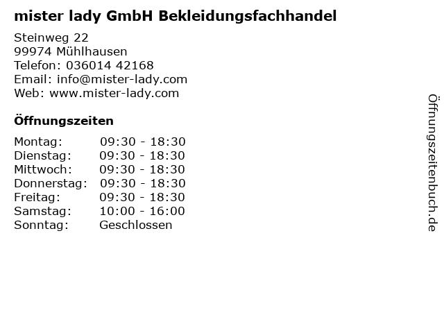 mister lady GmbH Bekleidungsfachhandel in Mühlhausen: Adresse und Öffnungszeiten