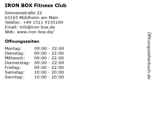 IRON BOX Fitness Club in Mühlheim am Main: Adresse und Öffnungszeiten