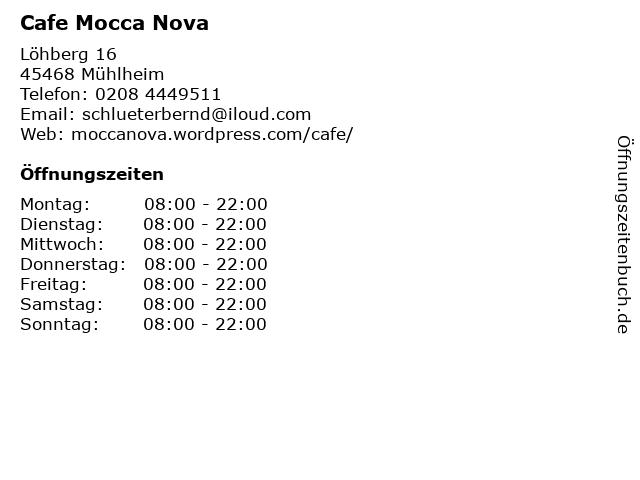 Cafe Mocca Nova in Mühlheim: Adresse und Öffnungszeiten