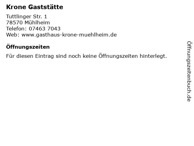 Krone Gaststätte in Mühlheim: Adresse und Öffnungszeiten