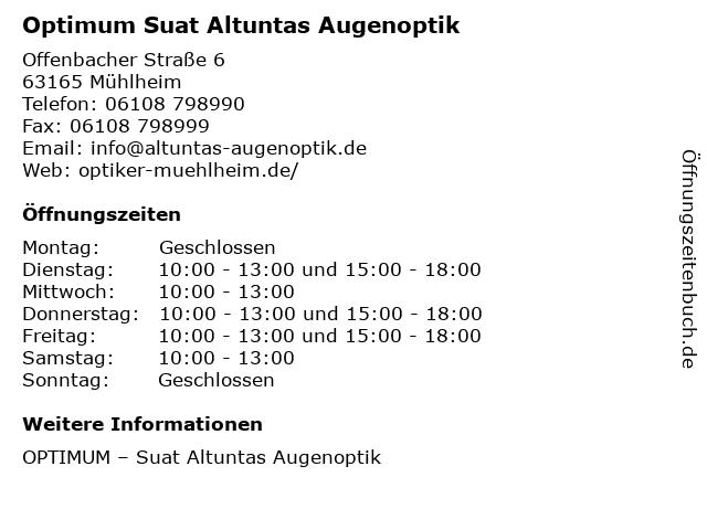 Suat Altuntas Augenoptik in Mühlheim: Adresse und Öffnungszeiten