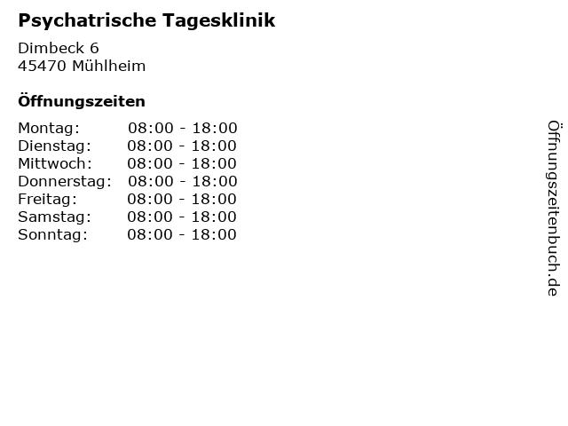 Psychatrische Tagesklinik in Mühlheim: Adresse und Öffnungszeiten