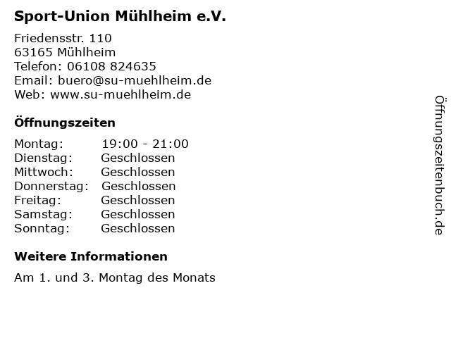 Sport-Union Mühlheim e.V. in Mühlheim: Adresse und Öffnungszeiten