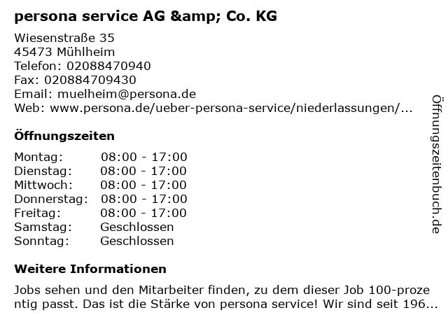 persona service AG & Co. KG in Mühlheim: Adresse und Öffnungszeiten