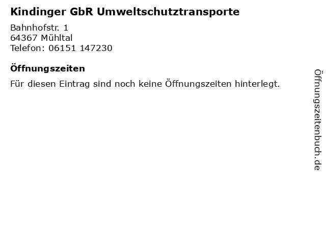 Kindinger GbR Umweltschutztransporte in Mühltal: Adresse und Öffnungszeiten
