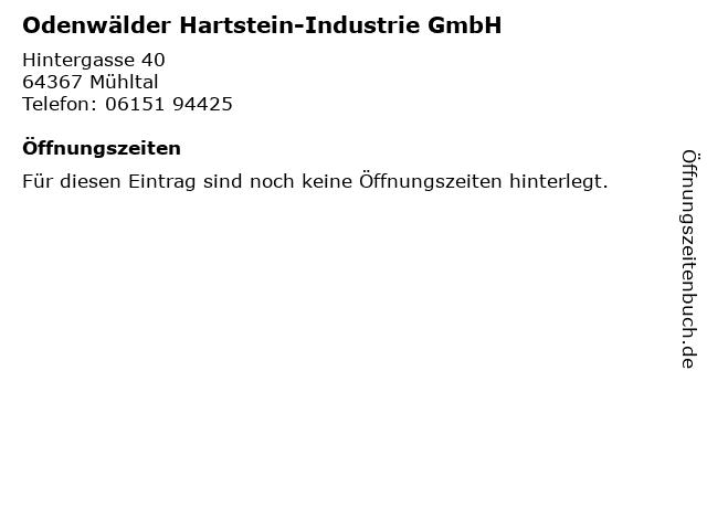 Odenwälder Hartstein-Industrie GmbH in Mühltal: Adresse und Öffnungszeiten