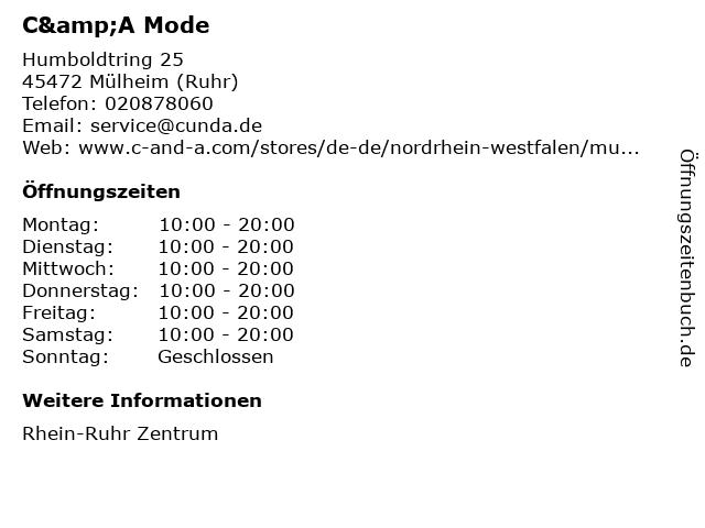 C&A Mode GmbH & Co. KG in Mülheim (Ruhr): Adresse und Öffnungszeiten