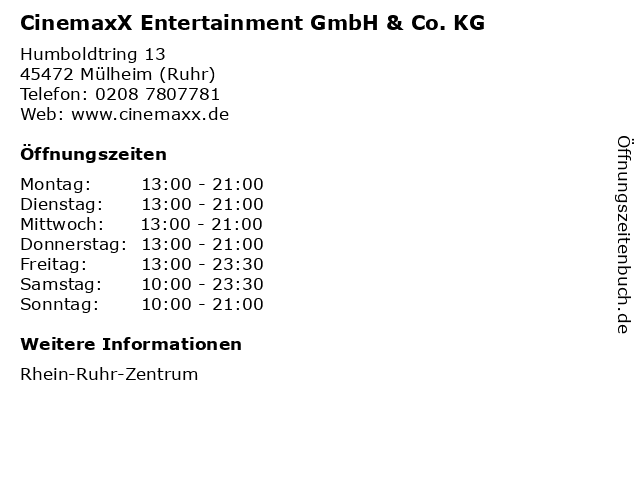 CinemaxX Entertainment GmbH & Co. KG in Mülheim (Ruhr): Adresse und Öffnungszeiten