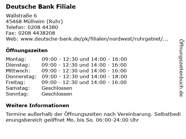 Deutsche Bank Filiale in Mülheim (Ruhr): Adresse und Öffnungszeiten