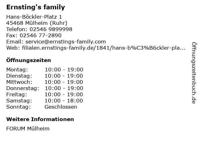 Ernsting's family in Mülheim (Ruhr): Adresse und Öffnungszeiten