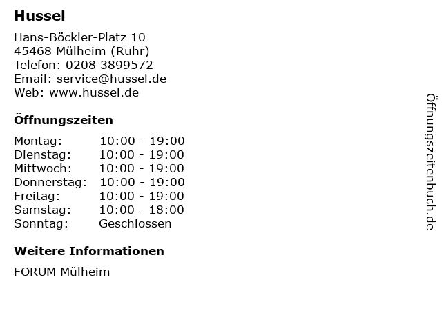 HUSSEL Süßwaren Fachgeschäfte GmbH in Mülheim (Ruhr): Adresse und Öffnungszeiten