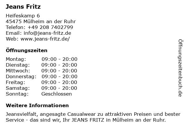 Jeans Fritz Handelsgesellschaft für Mode mbH in Mülheim (Ruhr): Adresse und Öffnungszeiten