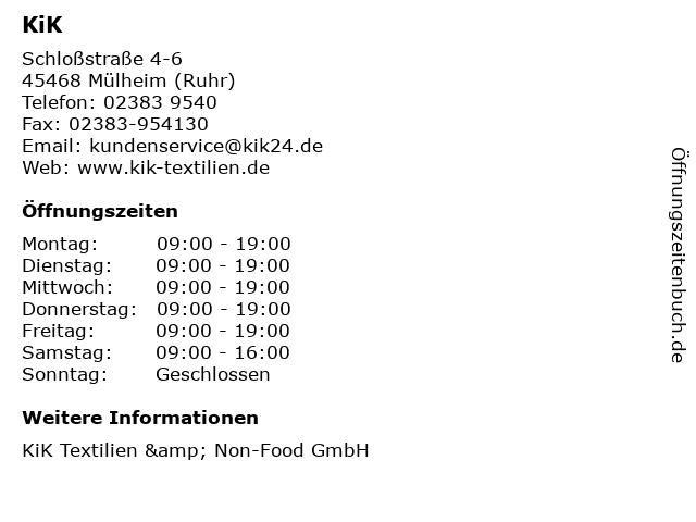 KiK in Mülheim (Ruhr): Adresse und Öffnungszeiten