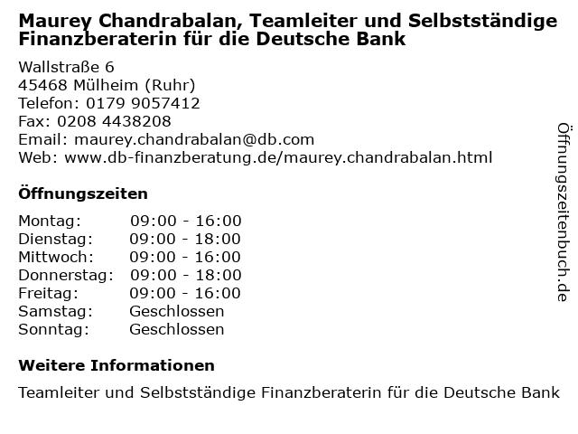 Maurey Chandrabalan, Selbstständige Finanzberaterin für die Deutsche Bank in Mülheim (Ruhr): Adresse und Öffnungszeiten