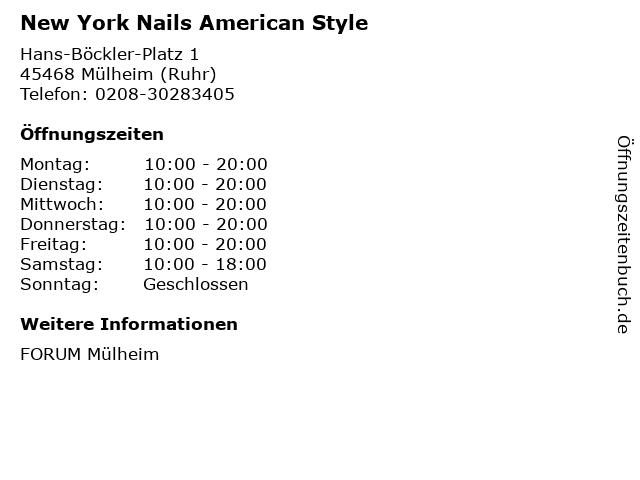 New York Nails American Style in Mülheim (Ruhr): Adresse und Öffnungszeiten