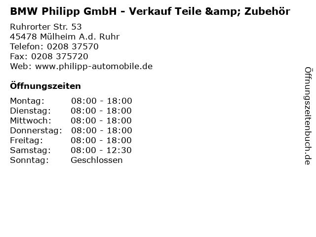 BMW Philipp GmbH - Verkauf Teile & Zubehör in Mülheim A.d. Ruhr: Adresse und Öffnungszeiten