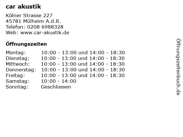 car akustik in Mülheim A.d.R.: Adresse und Öffnungszeiten