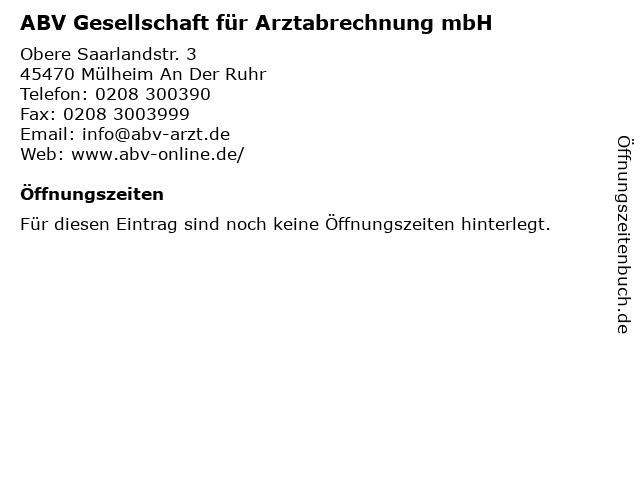ABV Gesellschaft für Arztabrechnung mbH in Mülheim An Der Ruhr: Adresse und Öffnungszeiten