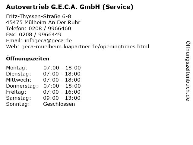 Autovertrieb G.E.C.A. GmbH (Service) in Mülheim An Der Ruhr: Adresse und Öffnungszeiten