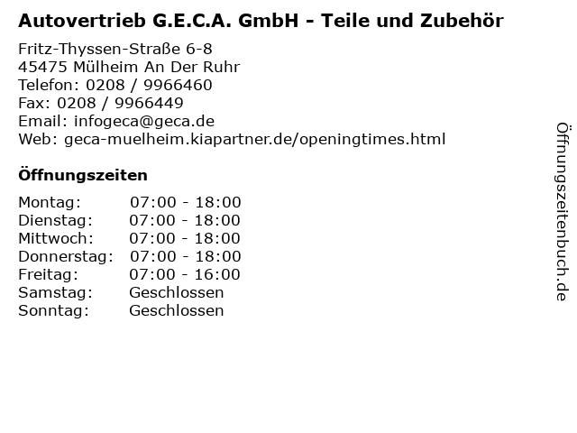 Autovertrieb G.E.C.A. GmbH - Teile und Zubehör in Mülheim An Der Ruhr: Adresse und Öffnungszeiten
