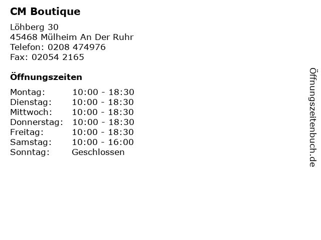 CM Boutique in Mülheim An Der Ruhr: Adresse und Öffnungszeiten
