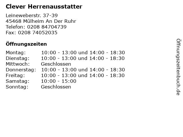 Clever Herrenausstatter in Mülheim An Der Ruhr: Adresse und Öffnungszeiten